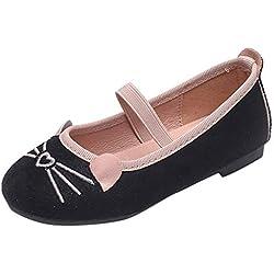 YWLINK Zapatos NiñAs Dibujos Animados Lindo Gato PatróN Princesa Zapatos Fondo Blando CóModo Fiesta Zapatos Casuales Zapatos De Baile Regalo del DíA De Miembro Zapatillas Sandalias(Negro,21EU)