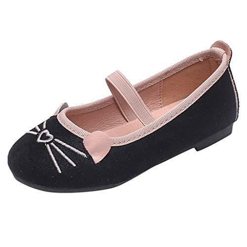 Jaysis Mädchen Prinzessin Sandalen Festliche Mädchenschuhe Taufschuhe Schuhe Kostüm Katzenmuster Schuhe Herbst Flache weiche Erbsen Schuhe Schwarz - Prinzessin Erbse Kostüm