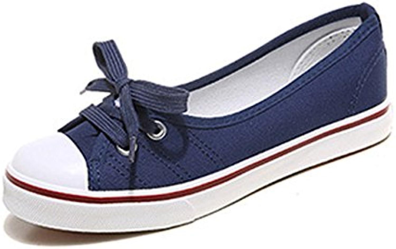 NGRDX&G Zapatos De Mujer Zapatos De Lona Zapatos De Lona Zapatos Casual Mujer Color Sólido Transpirable,Azul,7.5