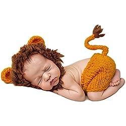 iBaste Ropa de bebe Recien Nacido Conjunros de bebes Tejido a mano la estatua del león para Fotografía Atrezzo Treje