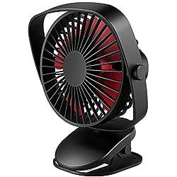 VersionTECH. Ventilateur À Pince, Ventilateur USB sur Table, Fan Puissant (4 plames) avec 3 Vitesses Réglable, Rotation de 360° pour La Pousette de Bébé, Le Bureau, la Maison, La Voiture - Noir