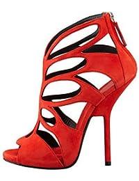 La mujer Primavera Verano sandalias Gladiator recorte polipiel parte & Noche tacones altos Plataforma Zipper rojo púrpura,Purple,US10.5 / UE42 / UK8.5 / CN43