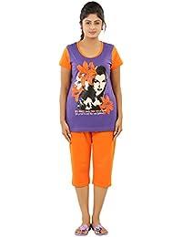 New Darling Womens PRISM VIOLET VIVID ORANGE Cotton Pyjama Sets