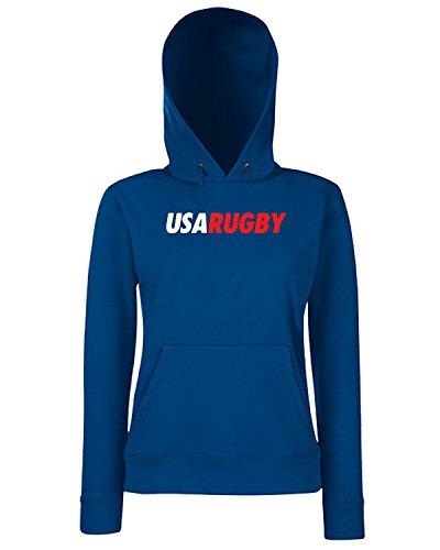 T-Shirtshock - Sweats a capuche Femme TRUG0095 ruggershirts usa rugby logo Bleu Navy