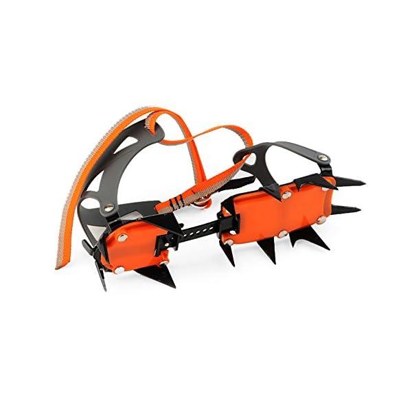 Docooler 14 Puntos Pinzas Dentadas Crampones Escalada en Hielo de Acero al Manganeso Crampón Dispositivo de Tracción (Naranja) 7