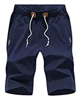 H&E Mens Elastic Waist Drawstrings Flat Baggy Ankle Length Pants XX-Small Dark Blue