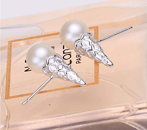 MTWTM Perle Silber Ohrringe Ohrstecker Ohrhänger Schmuck Der Frauen Einfachheit Fashion EIS Temperament High-Grade Eleganz Persönlichkeit Retro Kreativität Exquisite Süßwasser-Zuchtperlen, Silbrig