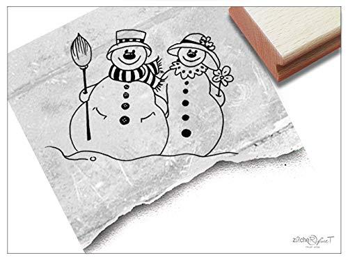 Stempel XL Weihnachtsstempel SCHNEEMANN mit Frau - Motivstempel Winter Weihnachten Karten Geschenkanhänger Weihnachtsdeko Geschenk - zAcheR-fineT