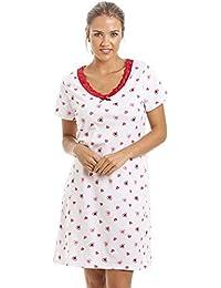 Camille - Chemise de nuit en coton - femme - motif cœurs - blanc