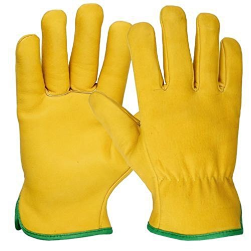 Leder Fahrer Handschuhe (Arbeitshandschuhe, Fleece-Futter, Leder, für LKW-Fahrer, Sicherheits-Handschuhe, hohe Qualität, 1Paar, gelb)