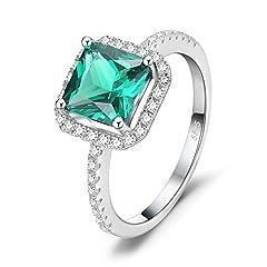 Idea Regalo - JewelryPalace Gioielli Donna Quadrata Nano Russo Verde Artificiale Smeraldo Anello di Fidanzamento 925 Argento Sterling