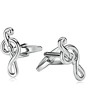 Aooaz 1 Paar / 2 Stück Herren Manschettenknöpfe Edelstahl Notenschlüssel Symbol Silber Verlobung Manschettenknopf...
