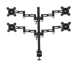 Duronic DM354 Quad Four LCD LED Desk Mount Arm Monitor Stand Bracket with Adjustability (Tilt ±15°|Swivel 180°|Rotate 360°) + 10 Year Warranty