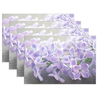 Lennel Lilac Personalized Print Design Placemats,Washable Placemats for Dining Room Kitchen Table Decoration,12x18(in) ,Set of 4