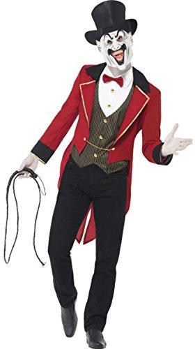 d Stecker Sinister Zirkusdirektor Kostüm Komplettes Outfit rot/schwarz ()