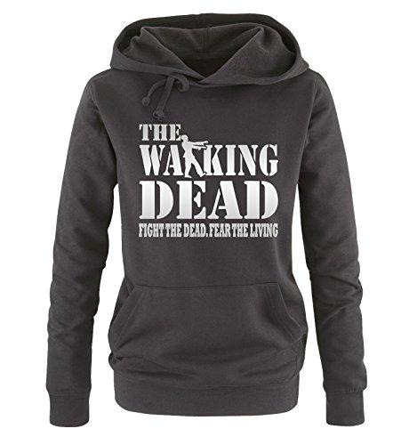 Comedy Shirts - THE WALKING DEAD - FIGHT THE DEAD - Damen Hoodie Schwarz / Silber Gr. L (Rick Grimes Hat)