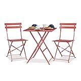 Relaxdays Bistrotisch mit 2 Stühlen, Klappbar, Eckig 60x60 cm, Metall, Outdoor, Garten Bistroset 3 Teilig, Wetterfest, Rot