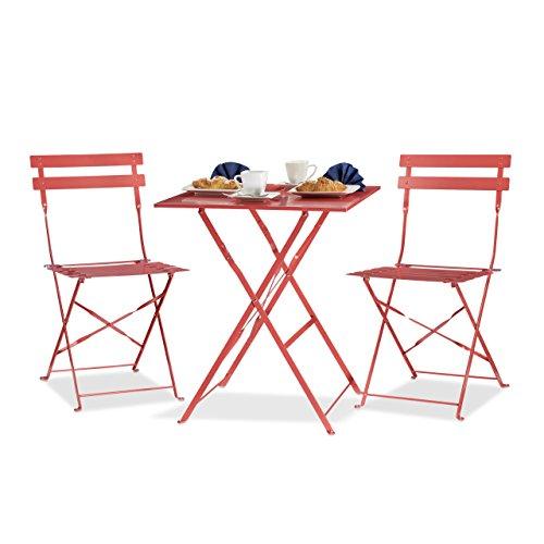 Küche Terrasse Möbel (Relaxdays Bistrotisch mit 2 Stühlen, Klappbar, Eckig 60x60 cm, Metall, Outdoor, Garten Bistroset 3 Teilig, Wetterfest, Rot)