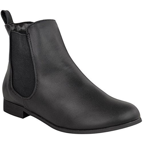 ladies-womens-flat-low-heel-chelsea-ankle-boot-elastic-gusset-pull-on-riding-heel-shoes-size