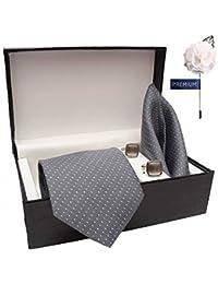 COCO CHANEL Men's Cotton Silk Stain Resistant Necktie,Pocket Square, Lapel pin Cufflinks Gift Set Grey_Free Size