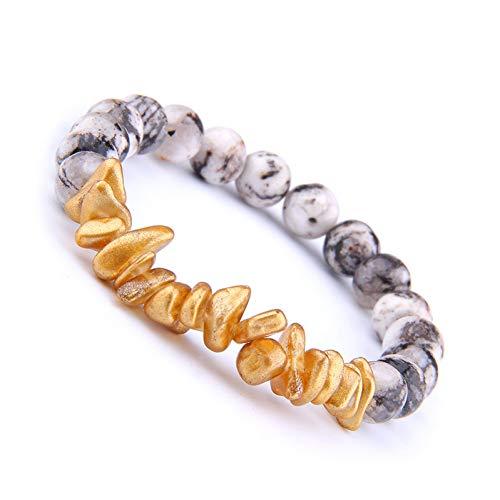 HYMWAN Unregelmäßige Gold Shell Chips Stretch Armband Männer Natürliche Jade Perlen Armbänder Für Frauen Yoga Meditation Balance Schmuck (Jade-chip-armband)