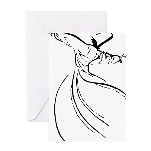 CafePress–Wirbelnde Derwisch Einfache Linien–Grußkarte, Note Karte, Geburtstagskarte, innen blanko, glänzend