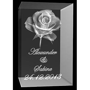 VIP-LASER 3D Glas Kristall Quader XL Rose mit Zwei Wunschnamen + Datum im Hochformat Weihnachten!, Beleuchtung:mit Color Leuchtsockel 5 LED Schwarz