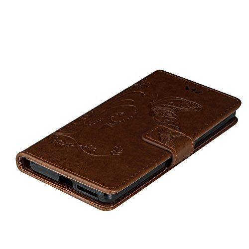 Custodia Xperia E5, ISAKEN Flip Cover per Sony Xperia E5 con Strap, Elegante borsa Tinta Unita Farfalla Design in Sintetica Ecopelle PU Pelle Protettiva Portafoglio Case Cover con Supporto di Stand / marrone chiaro