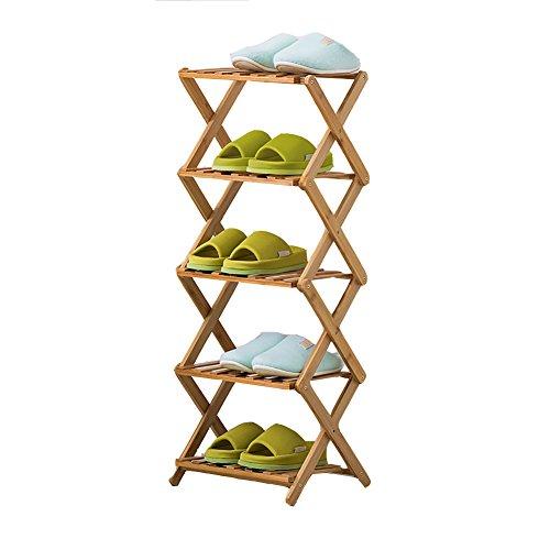LFF--Schuhregal Faltbare Schuhregal Bamboo 5 Tier Staubdicht Verstärkung Modern Minimalist Standing...