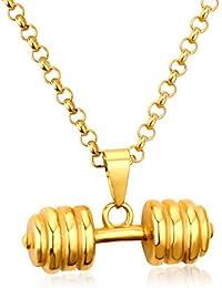 LUXUSTEEL - Collar con Colgante de mancuerna de Gimnasio para Hombre con Cadena enlazada, Chapado