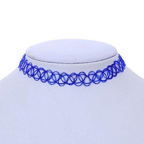 Preisvergleich Produktbild DOLDOA Stretch Gothic Tätowierung Halsband Tattoo Henna Choker Hippie Elastische Halskette (Blau)