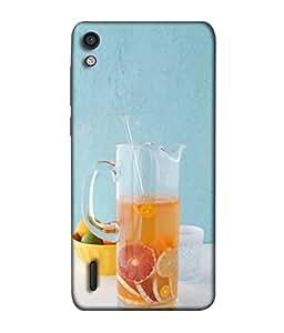 PrintVisa Designer Back Case Cover for Huawei Ascend P7 (Colourful Fruit Juice Good Lifestyle Orange blue)
