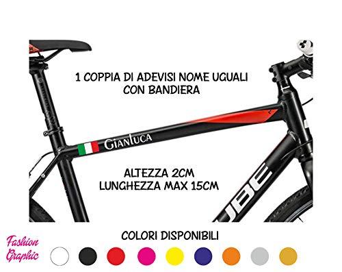Fashion Graphic Coppia Adesivi Nome Uguali più Bandiera Italia Italiana Bici Casco Auto Moto (Rosso)