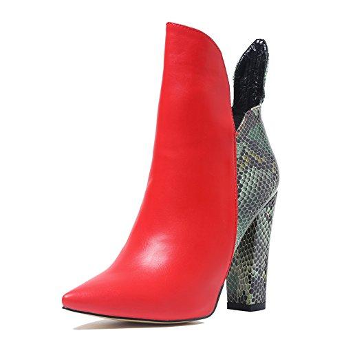Damen Spitze Toe Blockabsatz Schuhe High Heels Stiefeletten Ankle Boots Rot und Schlangenhaut EU38 (Ankle Boot Spitze)