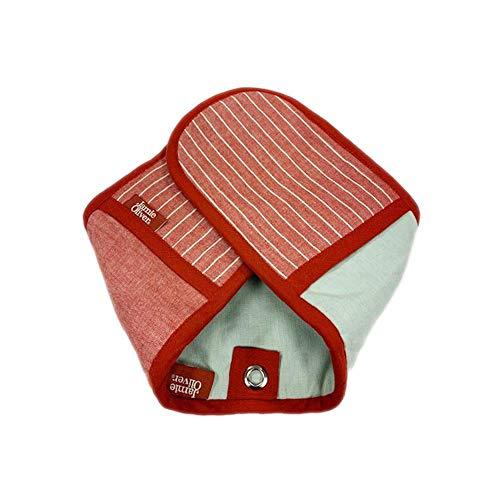 Jamie Oliver - Klassischer rot/weiß gestreifter Doppelhandschuh für den Ofen (Doppel Rot Ofen-handschuh)