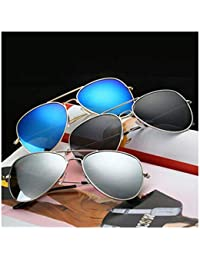 Set Of 3 Combo Aviator Sunglasses For Boys Girls Mens Womens (Silver Blue Merc) (Silver Silver Merc) (Silver Black)