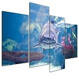 Bilderdepot24 Kunstdruck - Hai III - Bild auf Leinwand - 120x80 cm 4 teilig - Leinwandbilder - Bilder als Leinwanddruck - Wandbild Tierwelten - Wildtiere - Leben im Meer