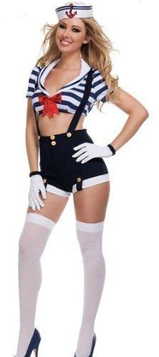 �ck Sexy Matrose Hotpants mit Handschuhen & Hut Militär Hen Party Kostüm Kleid Outfit - Blau/weiß, 8-10 (Matrosen Outfit Damen)
