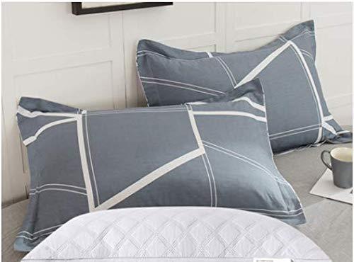 KLGG Kissenbezug und Kissenset aus Baumwolle Double Student Cotton Pillow Protection Gebärmutterhalskissen (graue Linie) (Hilfe Rufen-linie)
