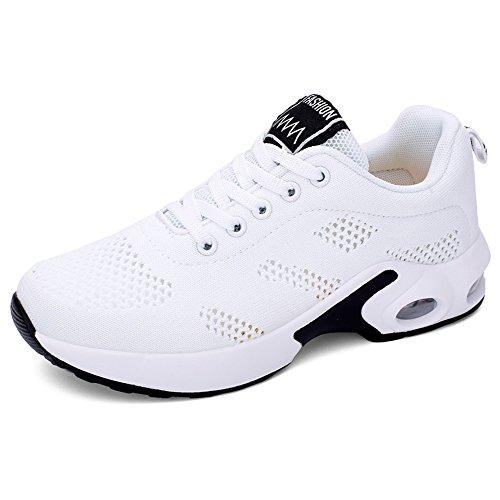 PAMRAY Laufschuhe Damen Air Gymnastik Straßenlauf Schuhe Schnüren Freizeitschuhe Weiß 37