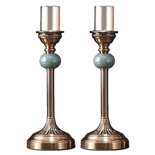 Chandeliers Bougeoir Porte-bougie en céramique, chandelier romantique en métal doré, support de chandelle pour le dîner de mariage à la maison, paquet de 2