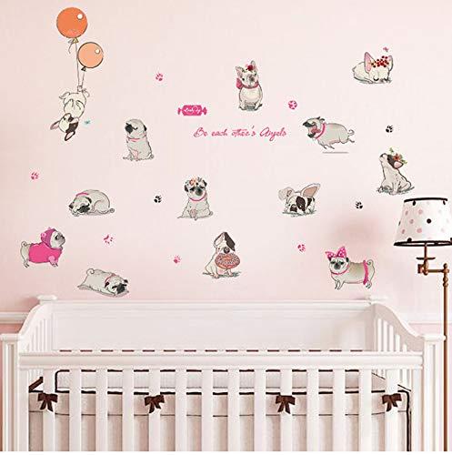 mohanshop Stickers Muraux Dessin Animé Shar Pei Balloon Belle Chiens DIY Vinyle Papier Peint pour Enfants Chambre Nursery Stickers Réfrigérateur Armoire Décor 88X125Cm
