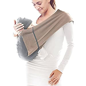 Wallaboo Wrap Sling Carrier Connection, Easy Adjustable, Ergonomic, 3 Carrying Positions, Newborn 8lbs to 33 lbs, Soft Breathable Cotton, 3 Sitting Positions, EU Safety Tested, Color: Taupe / Grey   9