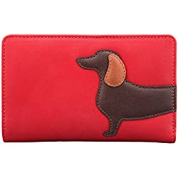 Bolso de mano fabricado en piel con gracioso perro salchicha