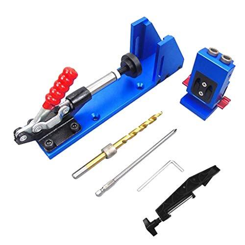 B Blesiya Pocket Hole Jig, Bohrhilfe mit Schrauben für Holzverbindungen, 9,5 mm Bohrer + Klammer, Verbessert Version (Undercover Jig)