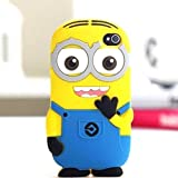 Go Crazzy 3D Cartoon Despicable Me Minion Soft Gel Rubber Silicone Protection Skin Cover for iPod Touch 4 with USB LED Light (2 Eyes Blue)