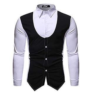 LSAltd Men Fashion Classic Gentleman Farbe Patchwork Umlegekragen Shirt Tops Lässige Knopfleiste Getäfelte Langarmbluse