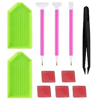 Gemini_mall® DIY Diamond Painting Tools Diamond Sticky Pens Plates Clays Tweezers, 11 Pieces in Total (Pens+Plates+Clays+Tweezers)
