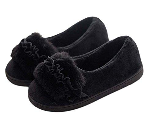FARALY Sweet Home Pantofola Calda Chiuso Punta Piatta Satin Scarpe In Inverno Scamosciata Scivolosa Coppia Scarpe Casual Heel Slipper Scarpe Incinte Black