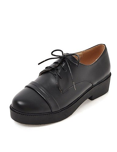 ZQ Scarpe Donna - Stringate - Ufficio e lavoro / Formale - Punta arrotondata / Stivali - Quadrato - Finta pelle - Nero / Beige , black-us8 / eu39 / uk6 / cn39 , black-us8 / eu39 / uk6 / cn39 black-us8 / eu39 / uk6 / cn39